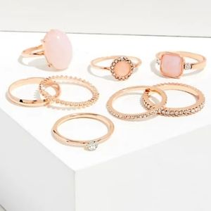 NWT ROSE-GOLD & PEACH PINK STONE RING SET OF 8